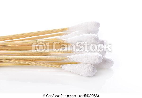 Cotton sticks isolated on white background - csp54302633