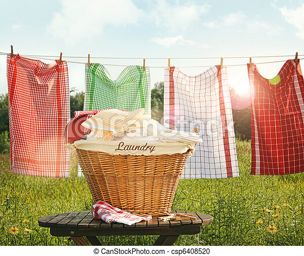 Cotton towels drying on the clothesline - csp6408520