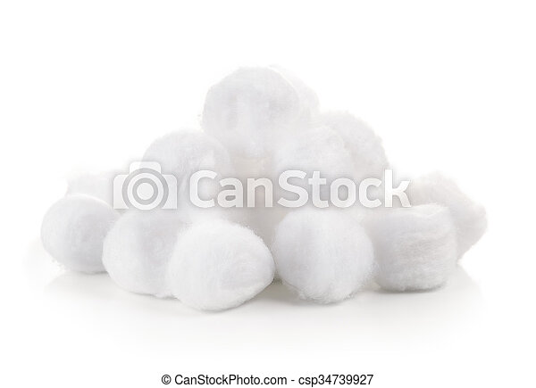 cotton wool on white background - csp34739927