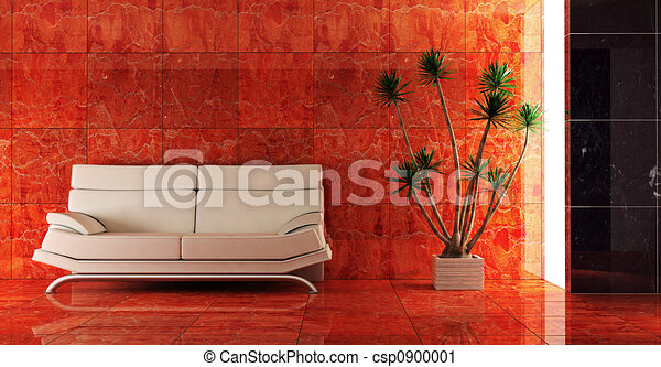 couch into the red interior - csp0900001