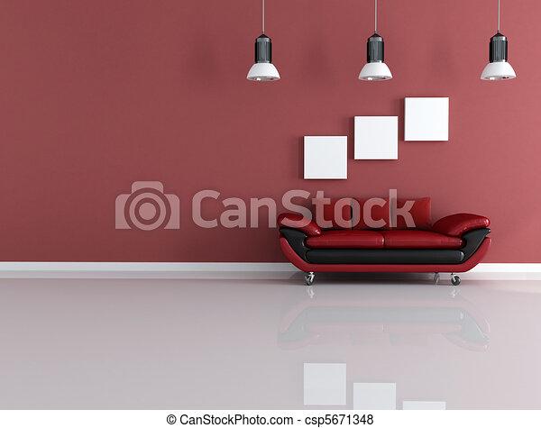 couch of velvet on wheels - csp5671348
