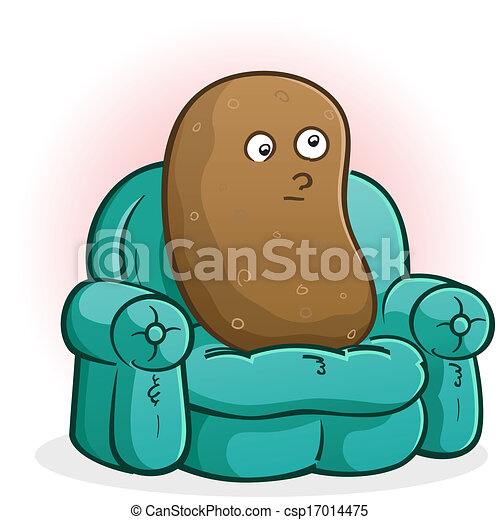 a couch potato cartoon character blankly staring at the vectors