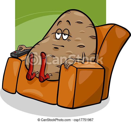 couch potato saying cartoon. cartoon humor concept clip art