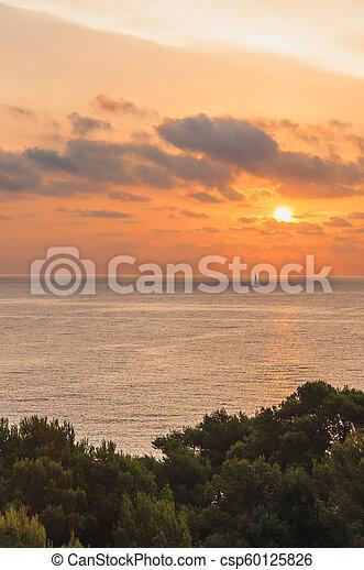 Coucher De Soleil Sur La Mer Sunset Over The Sea In Majorca