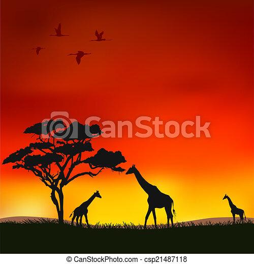 Coucher soleil africaine coucher soleil savane clipart - Coucher de soleil dessin ...