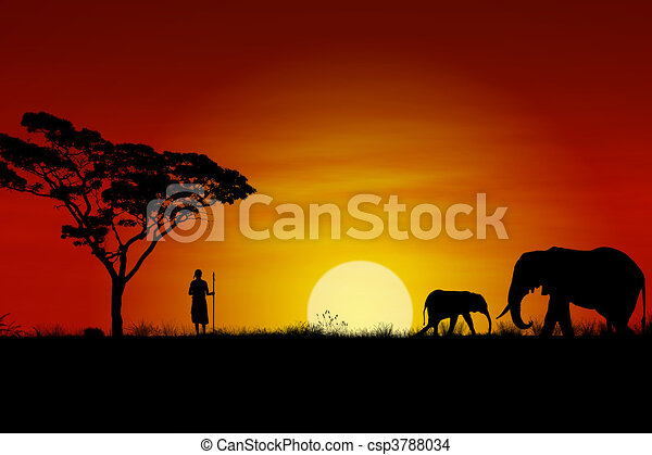 Coucher soleil africaine guerrier africaine massai - Dessin coucher de soleil ...