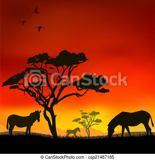 Coucher soleil africaine coucher soleil savane vecteur - Coucher de soleil dessin ...