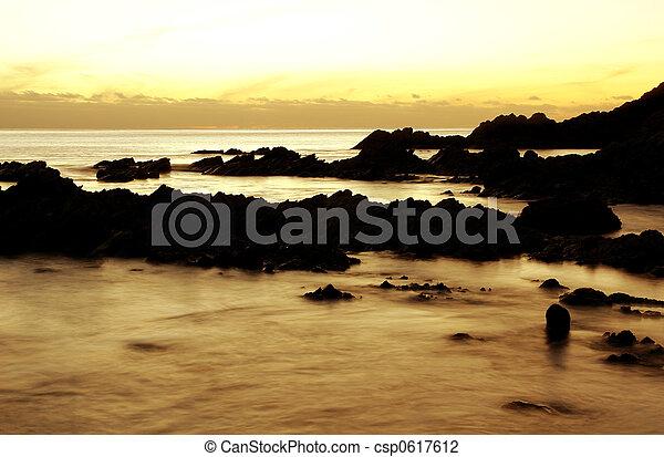coucher soleil, anse - csp0617612