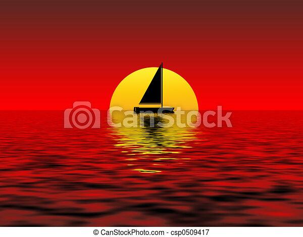 coucher soleil - csp0509417
