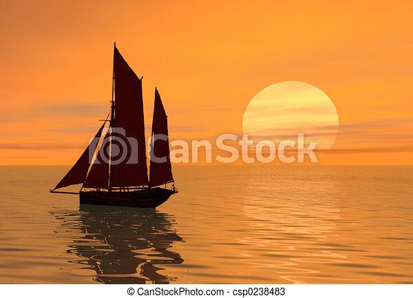Coucher soleil bateau voile - Coucher de soleil dessin ...
