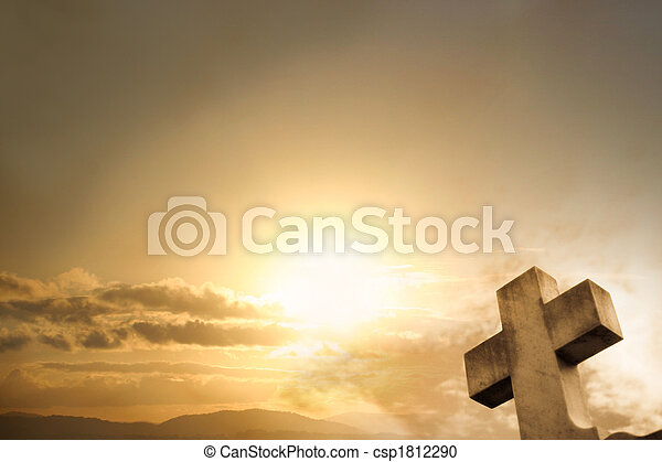 coucher soleil, croix, fond - csp1812290