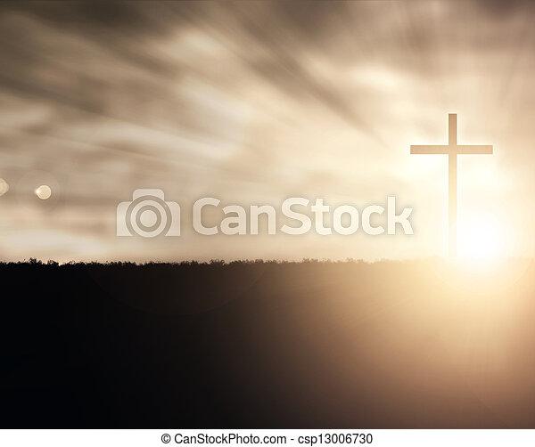 coucher soleil, croix - csp13006730