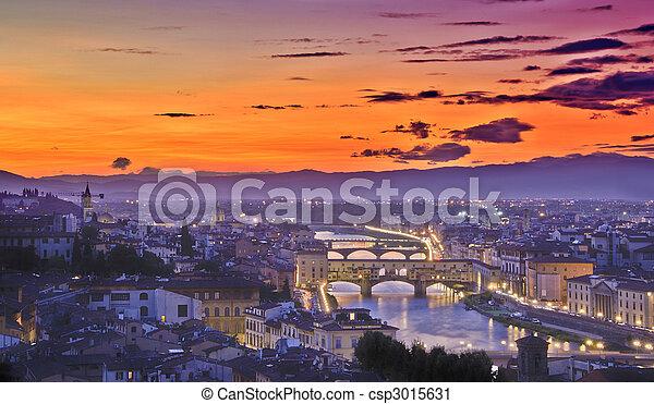 coucher soleil, florence - csp3015631