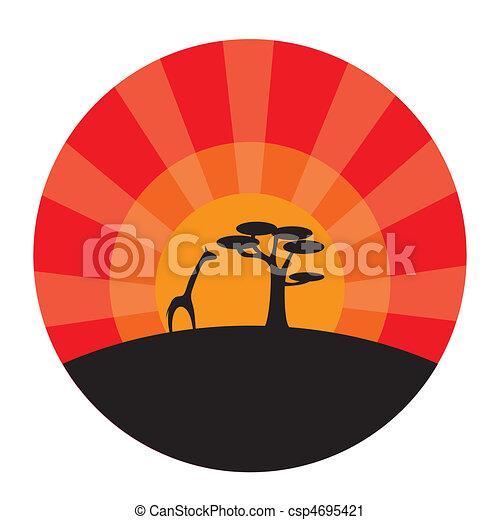 coucher soleil, girafe, arbre, fond - csp4695421