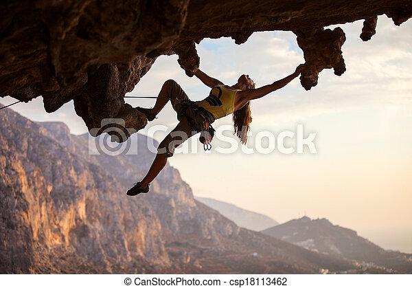 coucher soleil, grimpeur, rocher - csp18113462