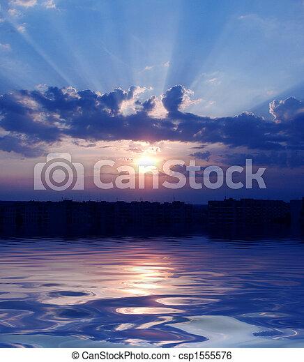 coucher soleil - csp1555576