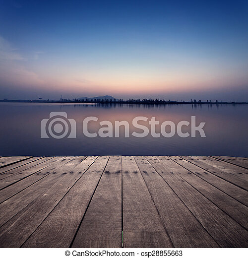 coucher soleil, lac, vue - csp28855663
