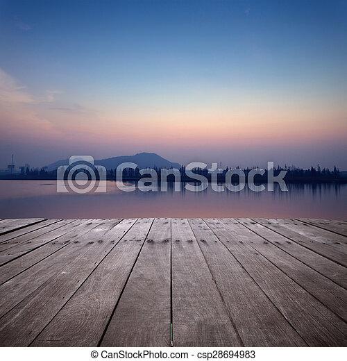 coucher soleil, lac, vue - csp28694983