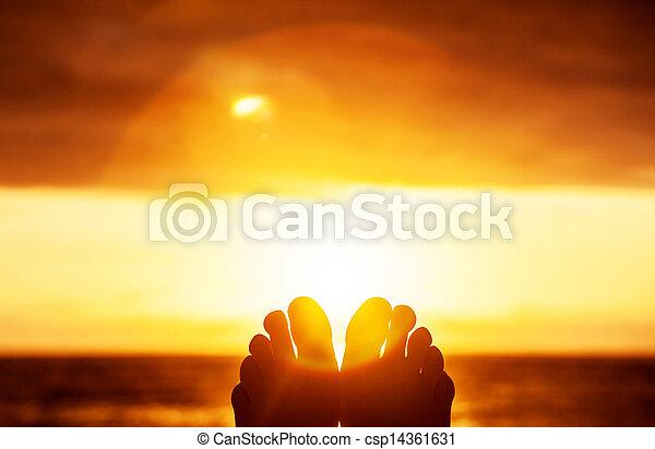 coucher soleil, paisible - csp14361631