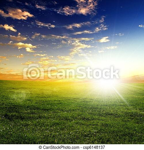 coucher soleil, paysage, nature - csp6148137