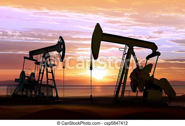 coucher soleil, pompes huile - csp5847412