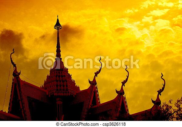 coucher soleil, silhouette, temple - csp3626118
