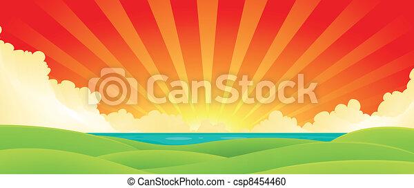 coucher soleil, sur, eau - csp8454460