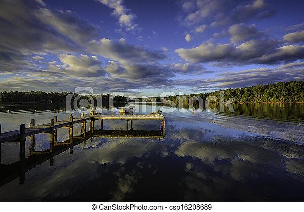 couchers de soleil, méridional, reflet - csp16208689