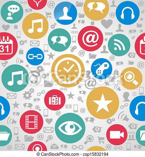couches, eps10, facile, coloré, icônes, média, organisé, seamless, arrière-plan., editing., vecteur, fichier, social, modèle - csp15832194