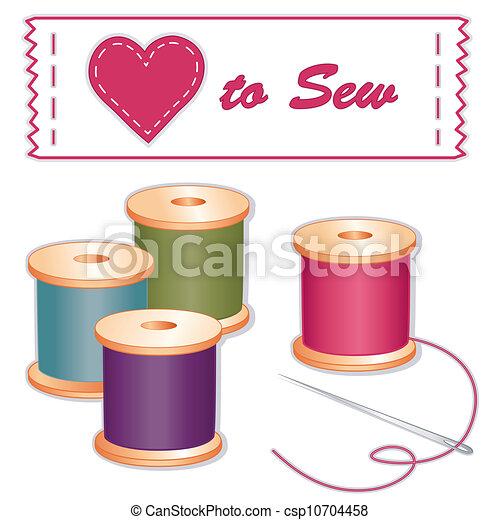 coudre, aiguille, étiquette, amour, fils - csp10704458
