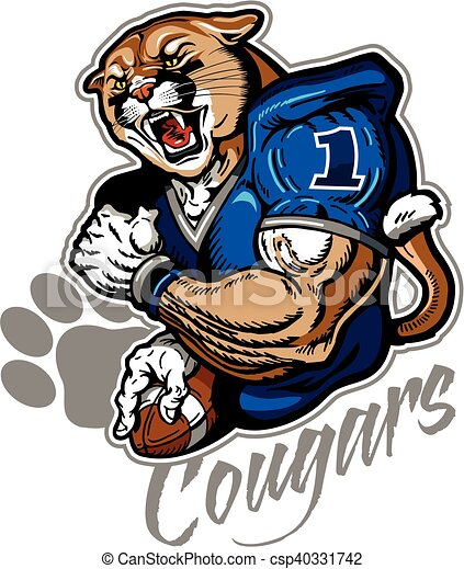 muscular cougar football player mascot for school college eps rh canstockphoto com  free cougar mascot clipart