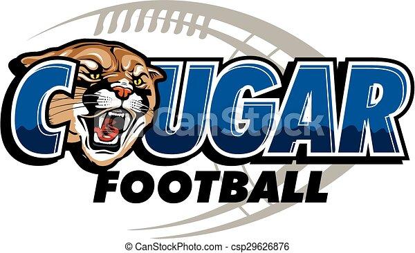 cougar football design with mascot head and football in the rh canstockphoto com Wildcat Mascot Clip Art Puma School Mascot