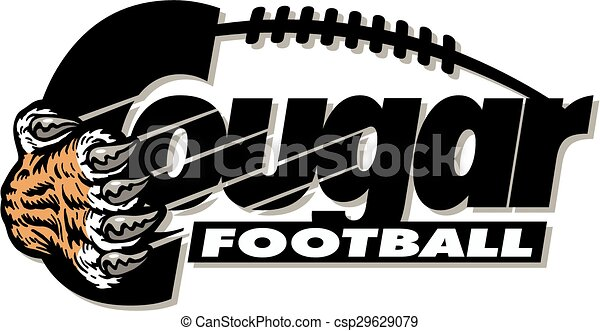 cougar football design with claw and laces vectors illustration