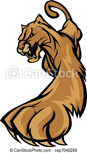 Cougar Mascot Body Prowling Graphic - csp7042269