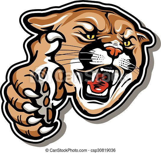 snarling cougar mascot with claw vectors search clip art rh canstockphoto com cougar school mascot clipart
