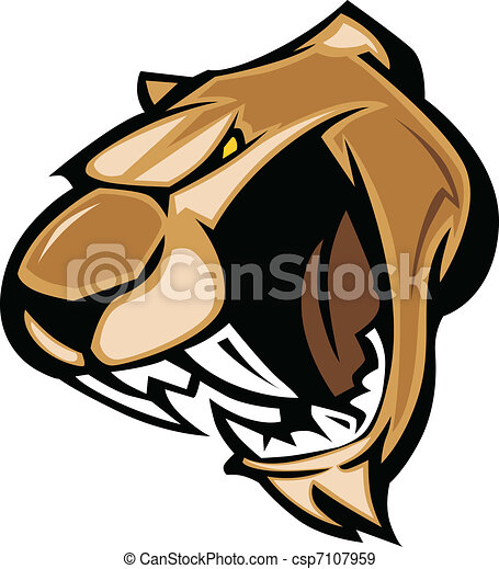 Cougar Mascot Head  Graphic  - csp7107959