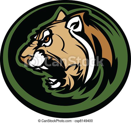 Cougar Mascot Head Vector Graphic - csp8149400