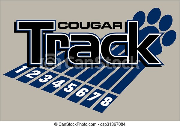 Line Drawing Vector Graphics : Cougar track and field team design with large paw print
