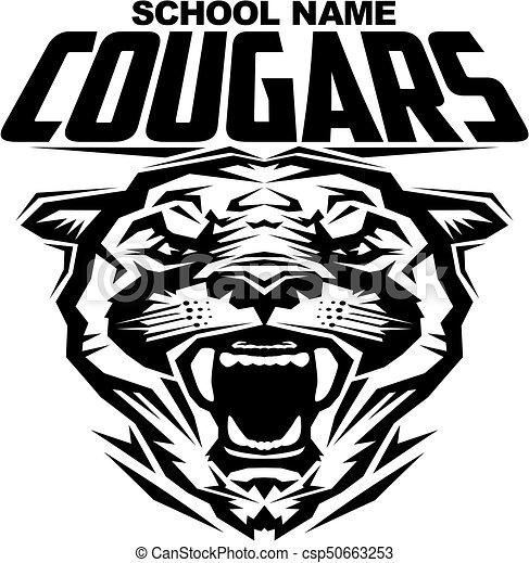 cougars mascot team design for school college or league clipart rh canstockphoto com Puma Mascot Puma School Mascot