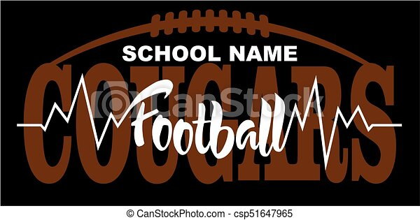 cougars football team design with heartbeat and laces for school