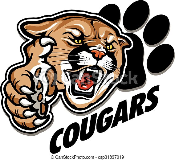 cougars mascot team design with mascot head and large claw vector rh canstockphoto com Puma Mascot Mountain Lion Mascot Clip Art