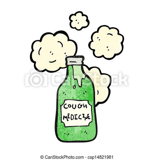 cough medicine cartoon can stock photo