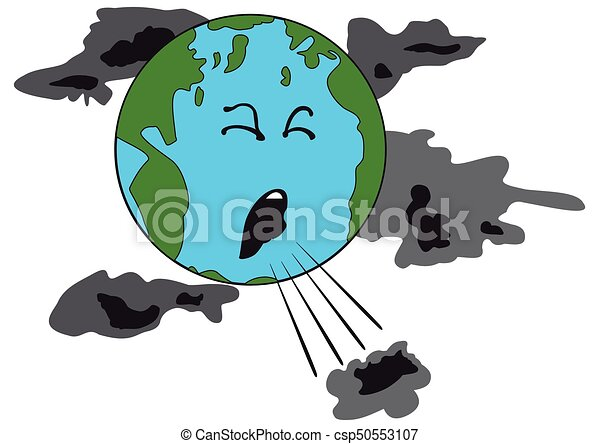 Line Art Earth : Illustration of a coughing planet earth with bad clouds vector