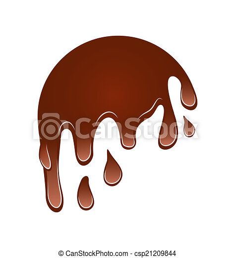 couler, isolé, chocolat, bas, fond, blanc, tache - csp21209844