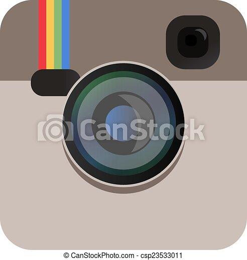 couleur, appareil photo, vecteur, beige, icône - csp23533011