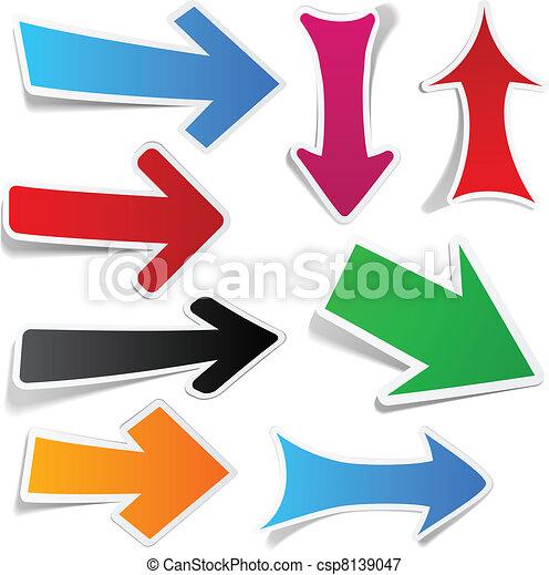 couleur, autocollant, flèches, set. - csp8139047