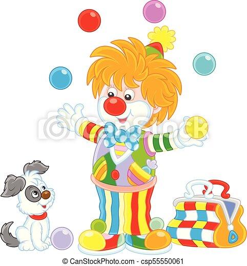 Couleur Balles Cirque Jonglerie Clown Jongleur Chien Sien
