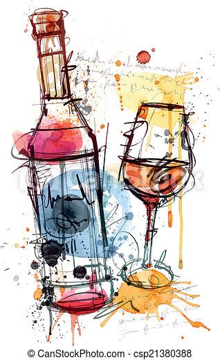 couleur eau, vin rouge - csp21380388