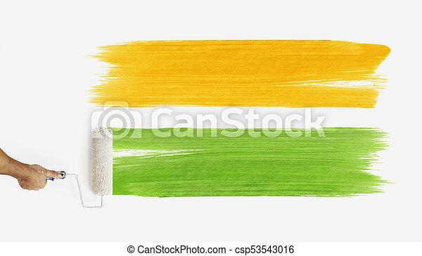 Couleur Haut Isolé Rouleau Peinture Vert Fond Vide Orange Fin Blanc Main Mur Peinture