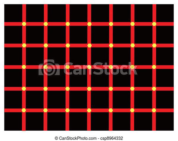 Illusion Optique Couleur couleur, illusion optique. sur, intersection., couleur, jaune